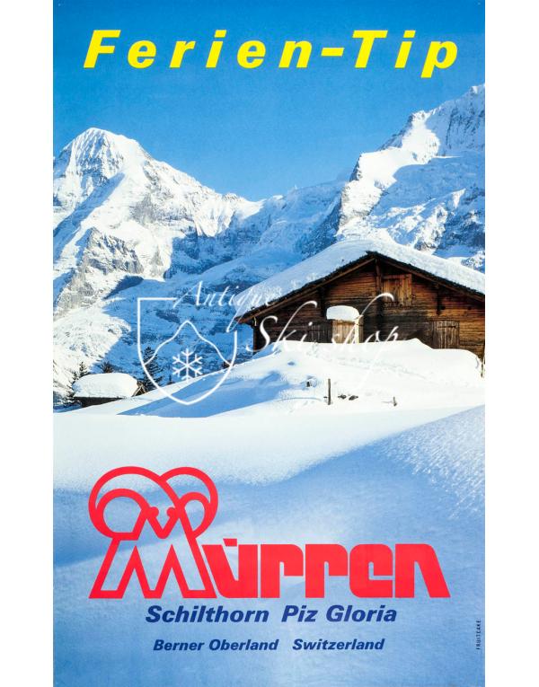 "Vintage Swiss Ski Poster : MURREN ""FERIEN-TIP"""