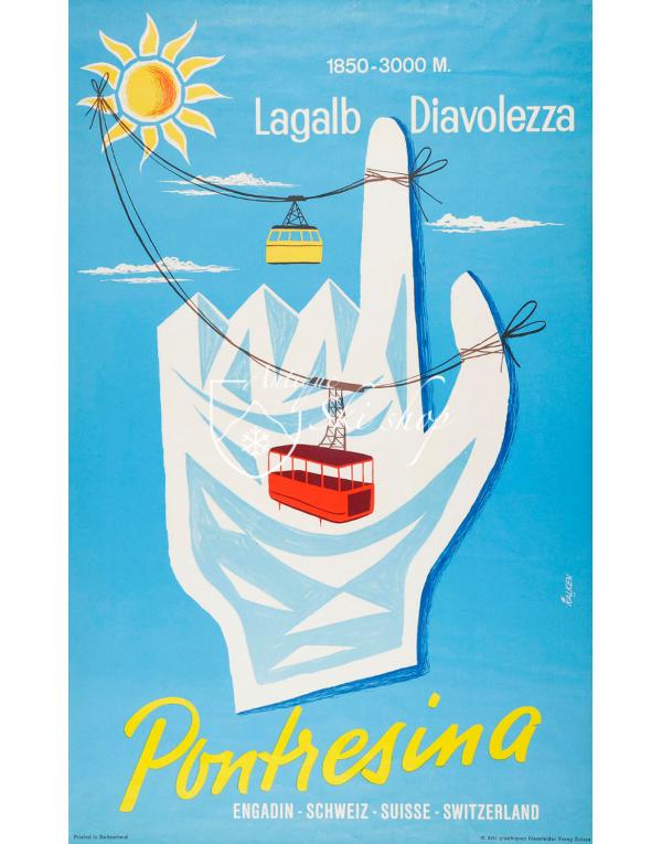 Vintage Swiss Ski Poster : PONTRESINA : LAGALB DIAVOLEZZA