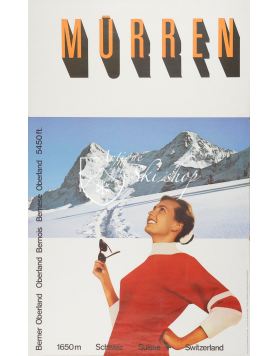 "Vintage Swiss Ski Poster : MURREN ""ENJOYING THE SUN"""