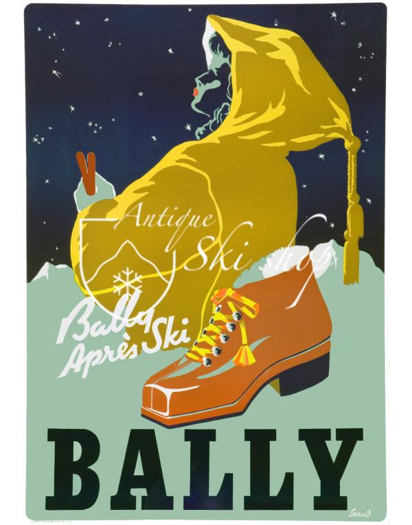 Vintage Swiss Ski Poster : BALLY - APRÈS SKI