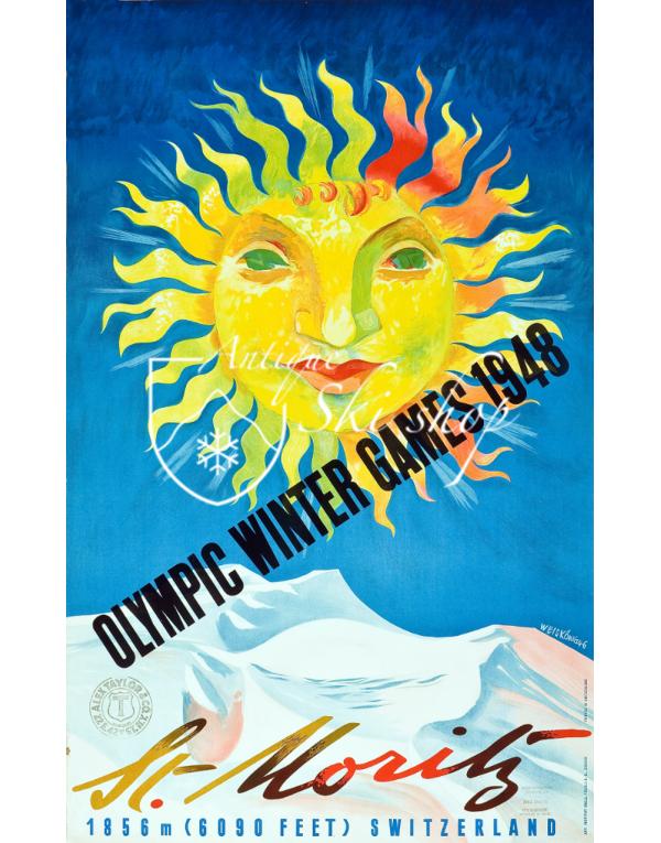 Vintage Swiss Ski Poster : ST. MORITZ WINTER OLYMPICS 1948