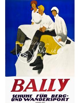Vintage Swiss Poster : BALLY - Schuhe für Berg und Wandersport