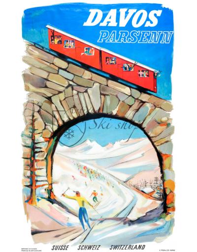 Vintage Swiss Ski Poster : DAVOS PARSENN