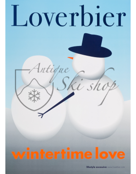 "Vintage Swiss Ski Poster : LOVERBIER ""WINTERTIME LOVE"""