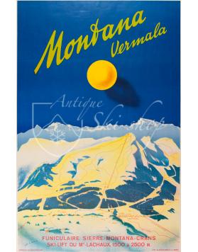 Vintage Swiss Ski Poster : MONTANA VERMALA