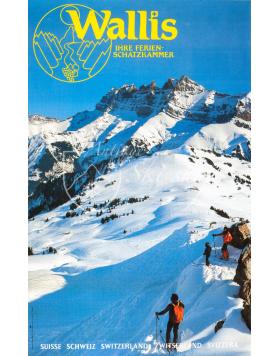 Vintage Swiss Ski Poster : WALLIS: IHRE FERIEN-SCHATZKAMMER