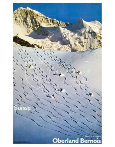 Vintage Swiss Ski Poster : OBERLAND BERNOIS