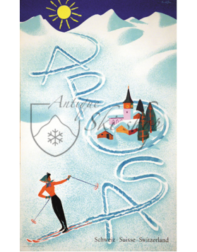 Vintage Swiss Ski Poster :  AROSA