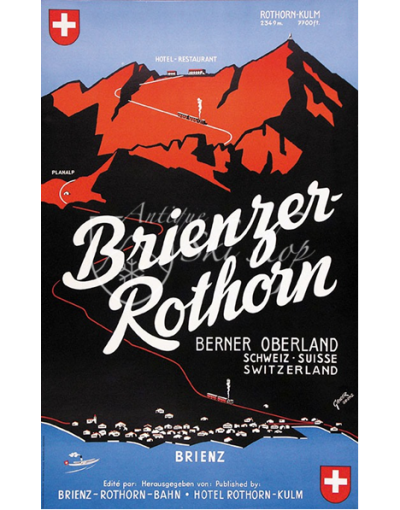 Vintage Swiss Resort Poster : BRIENZER ROTHORN