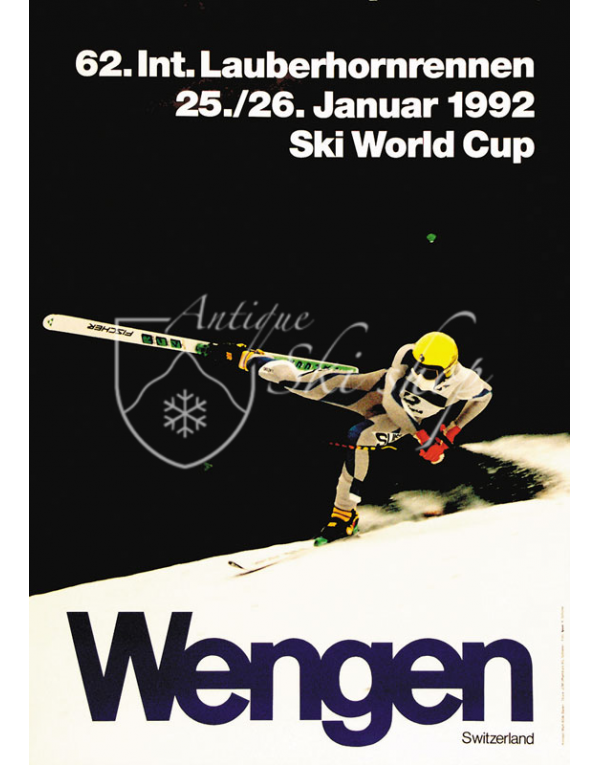Vintage Swiss Ski Poster : LAUBERHORNRENNEN WENGEN 1992 (SOLD - PRINT AVAILABLE)