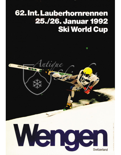 Vintage Swiss Ski Poster : LAUBERHORNRENNEN WENGEN 1992 (SOLD - PRINT AVAILABLE)