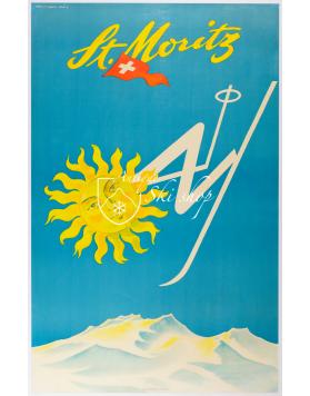 Vintage Swiss Ski Poster : St. Moritz - Sun Skier