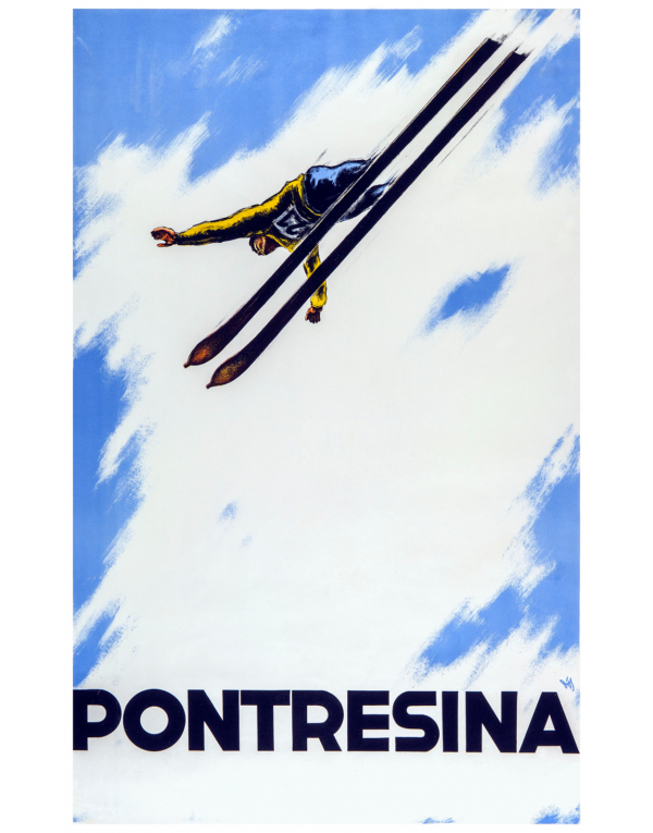 Vintage Swiss Ski Poster : PONTRESINA (Ski Flyer)