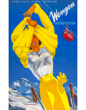 Vintage Swiss Ski Poster :  WENGEN (Woman in Yellow)