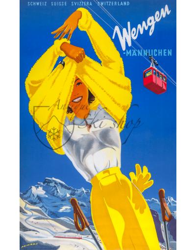 Vintage Swiss Ski Poster :  WENGEN (Woman in Yellow)
