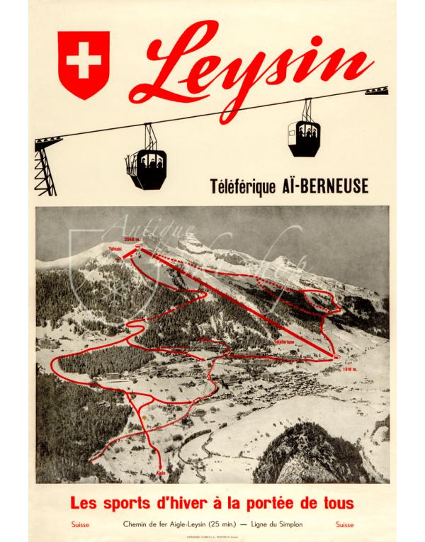 Vintage Swiss Ski Poster : LEYSIN