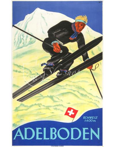 Vintage Ski Posters GSTAAD BERNER OBERLAND Art Deco Travel Print Swiss 1938