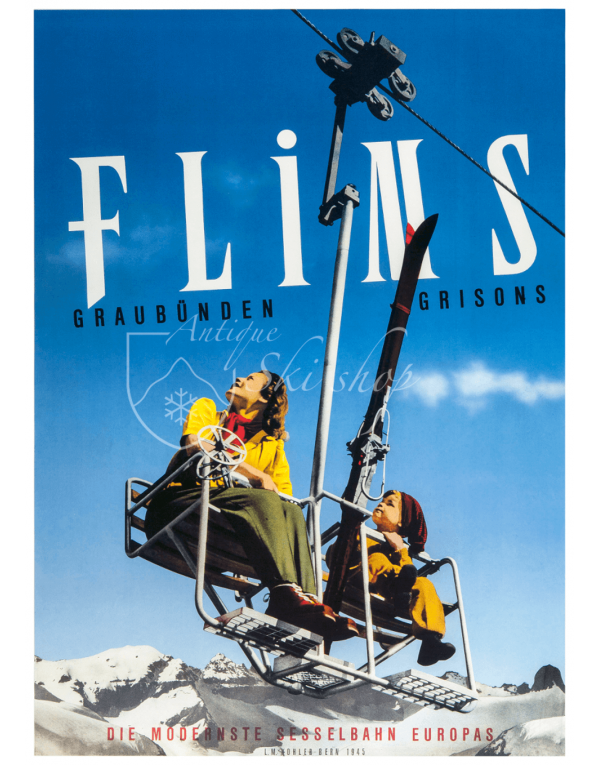 Vintage Swiss Ski Poster : FLIMS (Chairlift)