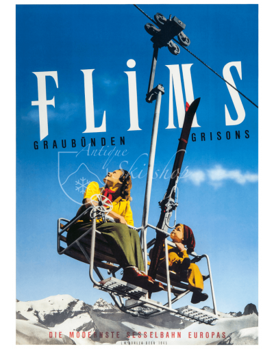 Vintage Swiss Ski Poster : FLIMS (Chairlift)