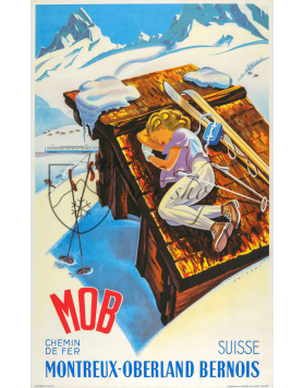 Vintage Swiss Travel Poster : MONTREUX-OBERLAND BERNOIS