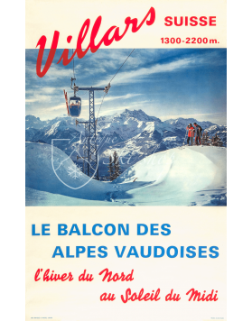 Vintage Swiss Ski Poster : VILLARS (Le Balcon des Alpes Vaudoise)