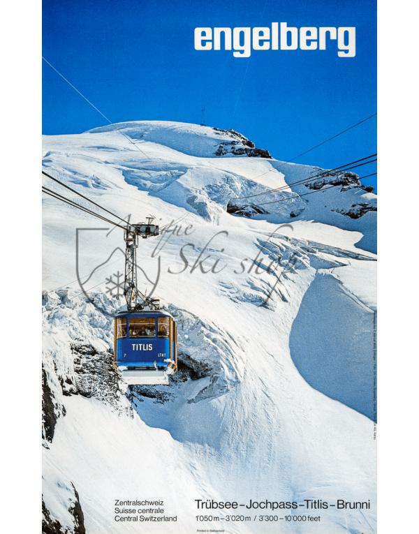 Vintage Swiss Ski Poster : ENGELBERG (Cable Car)