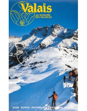 Vintage Swiss Ski Poster : VALAIS - AU ROYAUME DES VACANCES