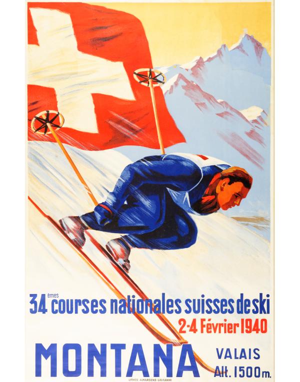 Vintage Swiss Ski Poster : MONTANA (SOLD - Print Available)