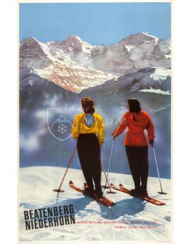 Vintage Swiss Ski Poster : BEATENBERG - NIEDERHORN