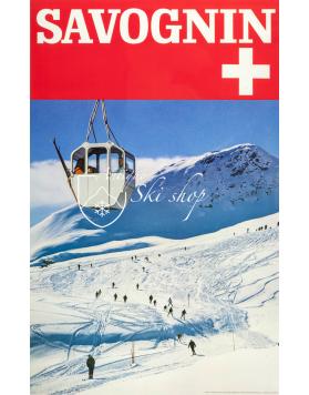 Vintage Swiss Ski Poster : SAVOGNIN