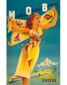 Vintage Swiss Travel Poster : MONTREUX-OBERLAND BERNOIS (MOB(