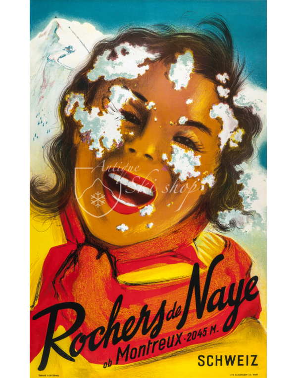 Vintage Swiss Ski Poster : ROCHERS DE NAYE (2)