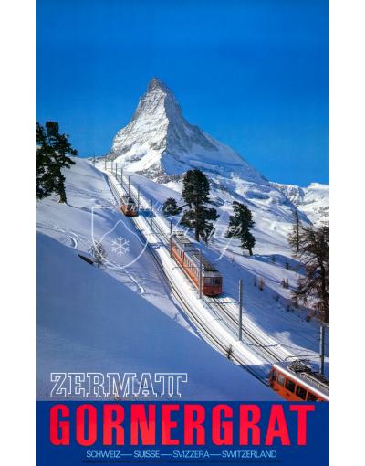 Vintage Swiss Ski Poster : ZERMATT GORNEGRAT (2)