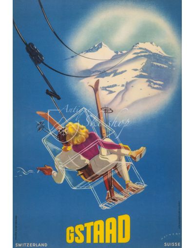 Vintage Swiss Ski Poster : GSTAAD (Chairlift)