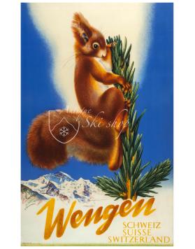 Vintage Swiss Ski Resort Poster : WENGEN (Squirell)