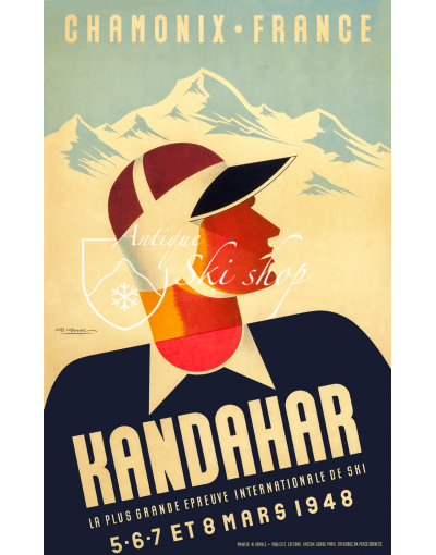 Vintage French Ski Poster : CHAMONIX - KANDAHAR 1948