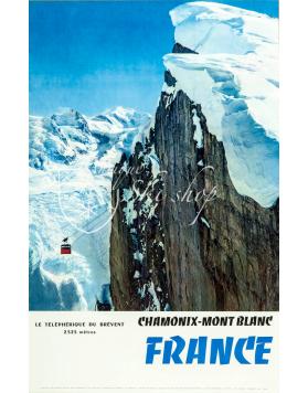 """Vintage French Ski Poster : CHAMONIX MONT BLANC """"BREVENT"""""""