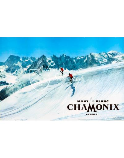 Vintage French Ski Poster : CHAMONIX MONT BLANC