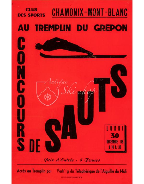 Vintage French Ski Poster : CONCOURS DE SAUTS - CHAMONIX