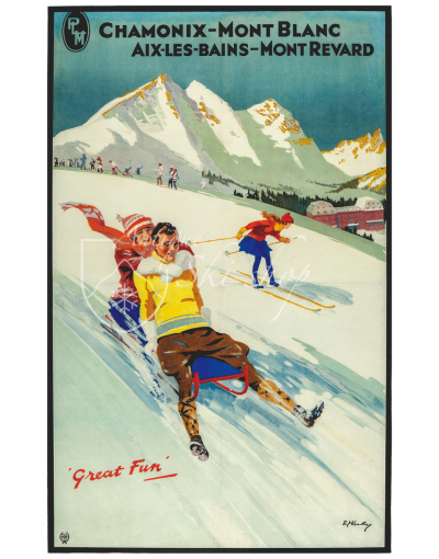 Vintage French Ski Poster : CHAMONIX - GREAT FUN