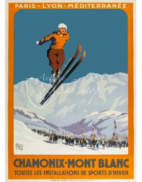 "Vintage French Ski Poster : CHAMONIX MONT BLANC ""SKI JUMP"" (Print available)"