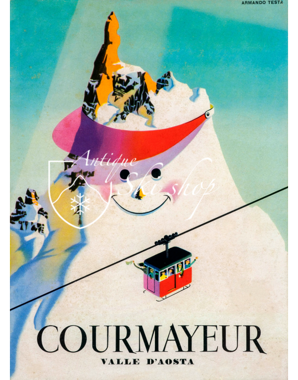 Vintage Italian Ski Poster : COURMAYEUR - VALLE D'AOSTA