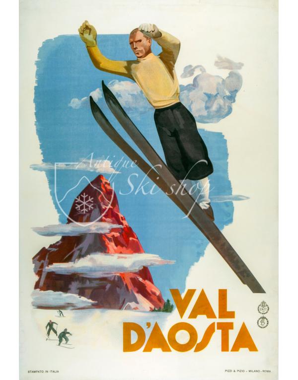 Vintage Italian Ski Poster : VAL D'AOSTA