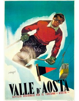 Vintage Italian Ski Poster : VALLE D'AOSTA