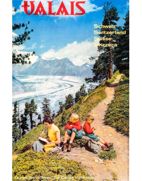 Vintage Swiss Travel Poster : VALAIS : SUMMER HIKING