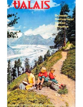 Vintage Swiss Travel Poster : VALAIS : SUMMER HIKING