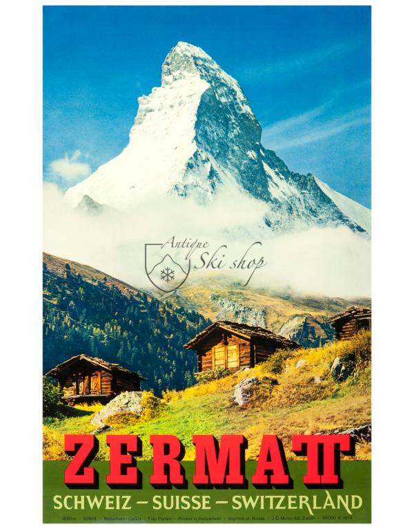 Vintage Swiss Ski Resort Poster : ZERMATT MATTERHORN (SUMMER)