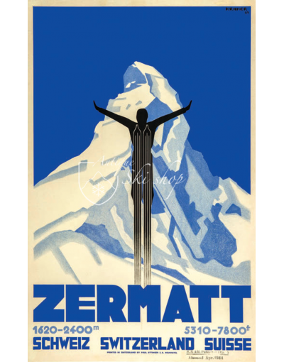 Vintage Swiss Ski Poster : ZERMATT SKI JUMP