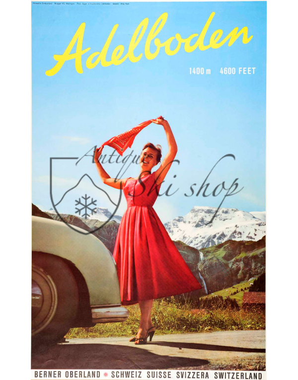 Vintage Swiss Ski Poster : ADELBODEN (SUMMER)