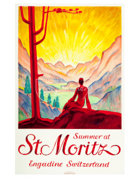 Vintage Swiss Travel Poster : SUMMER AT ST. MORITZ